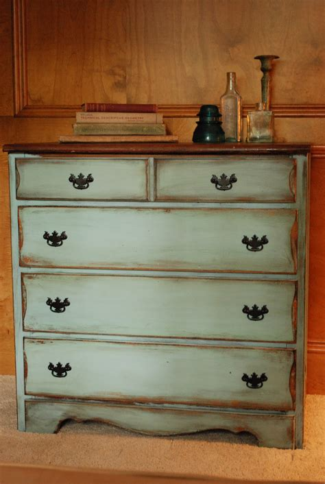 distressed painted bedroom furniture between blue and yellow petite dresser