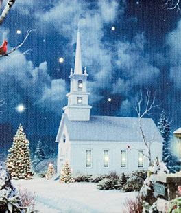 17 inch lighted church scene with colorful rice lights lighted canvas wall battery operated candles