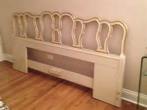 white gold king size bed headboard vintage in