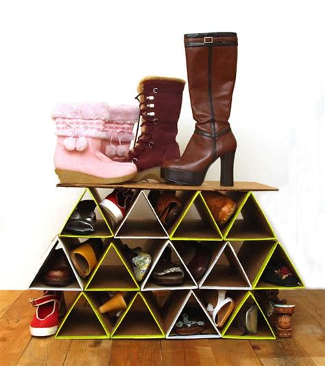 diy shoe organizer diy space saving shoe rack a of rainbow