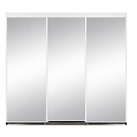 Aluminum Closet Doors 120 In X 80 In Polished Edge Mirror Gasket Framed Aluminum Interior Closet Sliding Door With