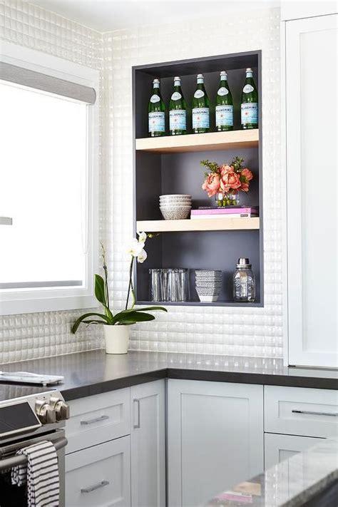 white prism kitchen backsplash tiles transitional kitchen