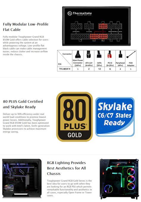Thermaltake Toughpower Grand Rgb 850w 80 Gold thermaltake toughpower grand rgb 850w 80 plus gold power