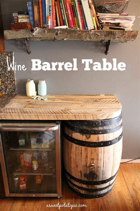 how to make a whiskey barrel table diy wine barrel table a sweet potato pie