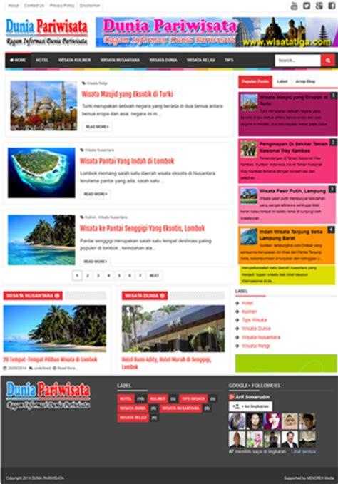 blogger wisata contoh desain web blog pariwisata menoreh net media
