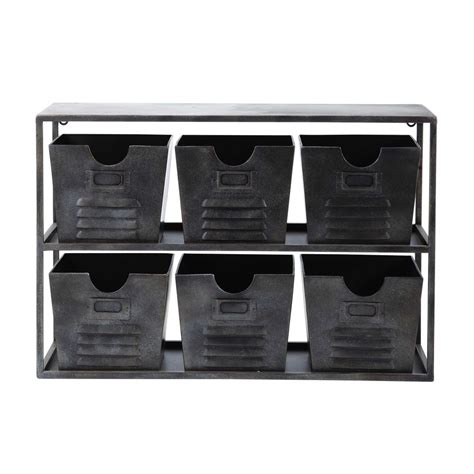 Black Metal Shelf Unit by Gabin Metal Shelf Unit In Black W 60cm Maisons Du Monde