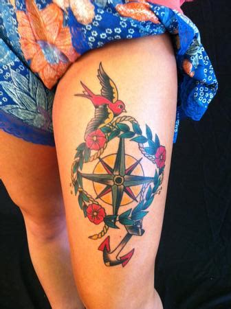compass vine tattoo tattoos compass anchor 91124