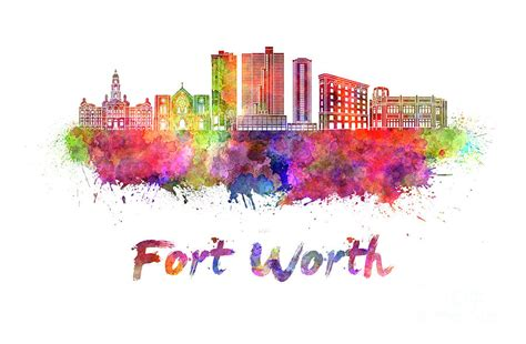 watercolor tattoos fort worth fort worth skyline in watercolor painting by pablo romero