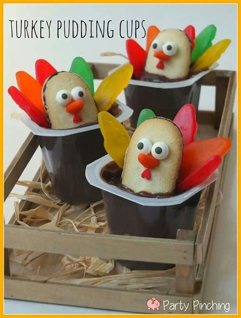 Thanksgiving Puddings Turkey Pudding Cups Fall Ideas Pinterest