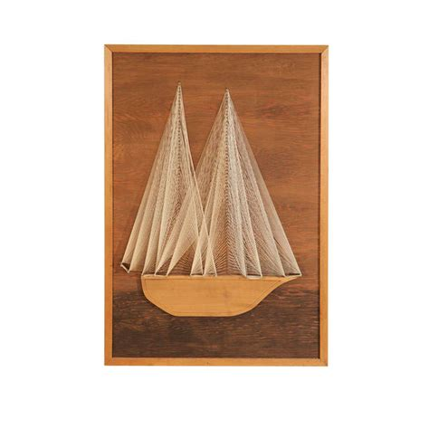 String On Wood - nautical themed string and wood wall sculpture at 1stdibs