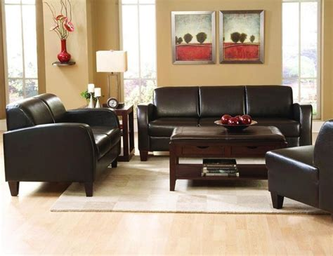 Leather Sofa Living Room Brown Leather Sofa Loveseat Arm Chair Living Room Set Living Room Furniture Sets