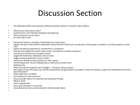 lab report discussion section discussion section of lab report how to write the