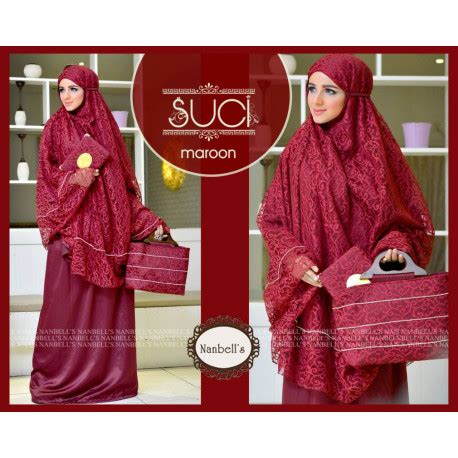 Mukena Akar Tas suci 3 maroon baju muslim gamis modern