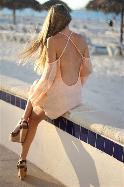 Tunic Blouse Girly Pastel blouse coral open back backless crossed back pastel