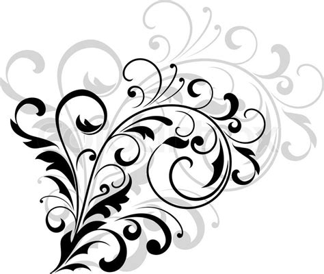 Line Swag Putih floral design element with swirling leaves as a simple