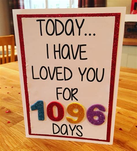 Paket Gift Anniversary 3 year anniversary card today i loved you for 1096 days x