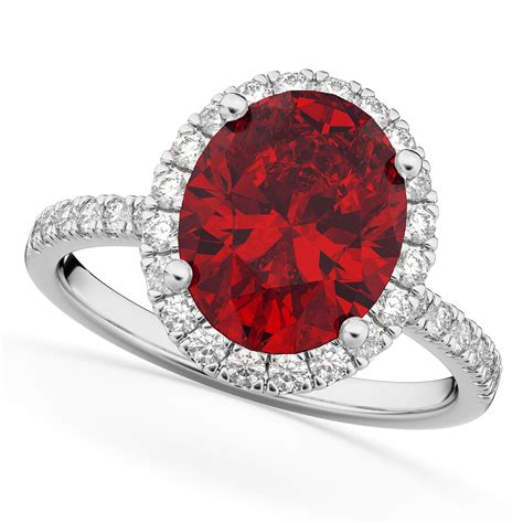 Oval Cut Halo Ruby & Diamond Engagement Ring 14K White