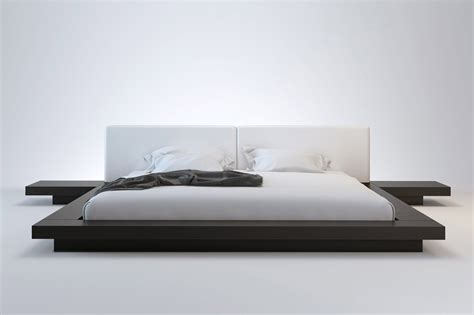 Low Profile King Bed Frame Large Modern Low Profile King Bed Frame Made From Wood Painted With Black Color Plus White Bed