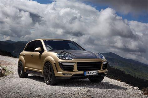 gold porsche porsche cayenne turbo gets topcar vantage treatment in