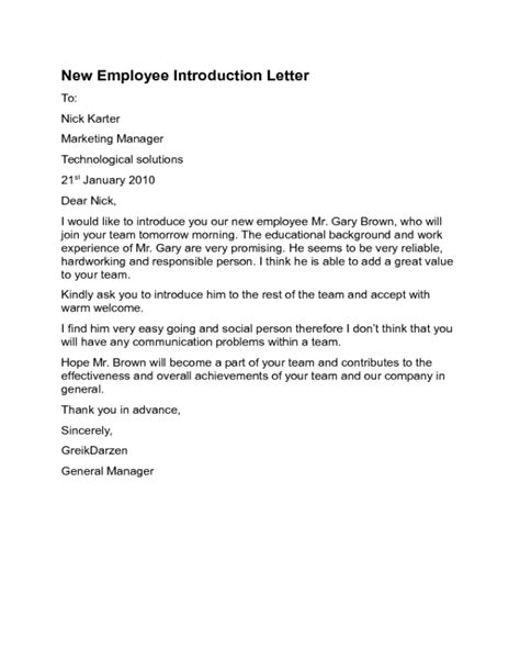 Introduction Letter New Employee 2017 Introduction Letter Templates Fillable Printable Pdf Forms Handypdf