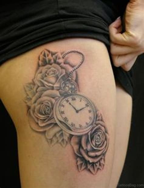 clock with roses tattoo 50 top class clock tattoos on thigh