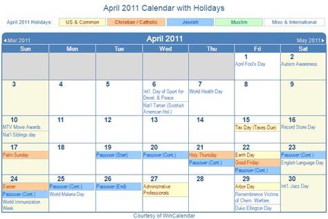 April 2011 Calendar Print Friendly April 2011 Us Calendar For Printing