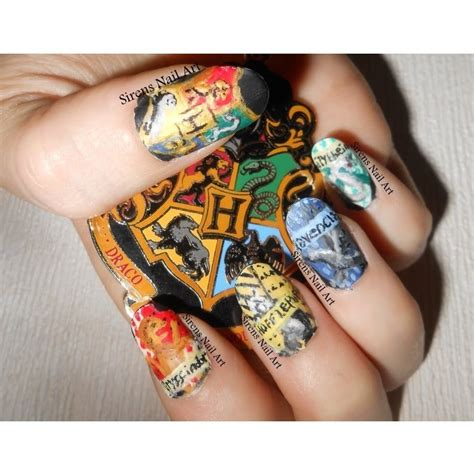hand painted harry potter house crest nail art youtube