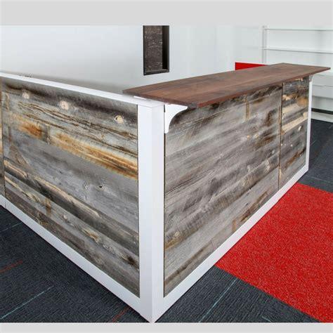 reclaimed wood front desk barn wood reception desk green clean designs front office desk
