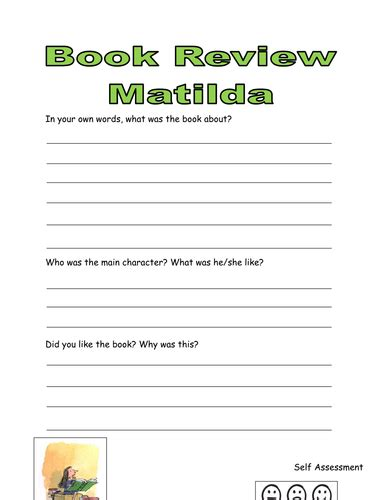 roald dahl book review template matilda book review template