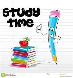 Of study time card with apple book and pencil on notebook page
