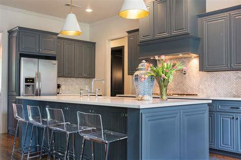 kitchen beautiful kitchen features gray blue cabinets paired with white quartz countertops and