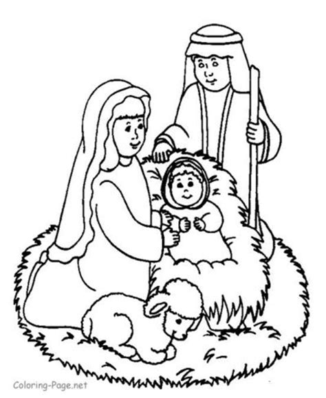 coloring page of mary joseph and baby jesus preschool