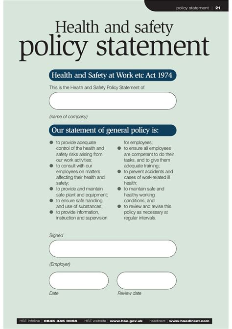 health and safety policy template health and safety policy exles pictures to pin on