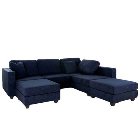 Blue Microfiber Sectional Sofa Microfiber Sectional Sofa By Acme Furniture Blue Qvc