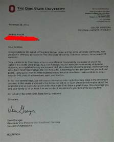 Acceptance Letter From Ohio State Andrew Powell On Quot Acceptance Letter From