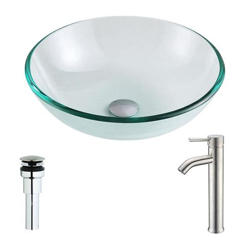 clear bathroom sink drain shop anzzi etude series clear tempered glass round vessel