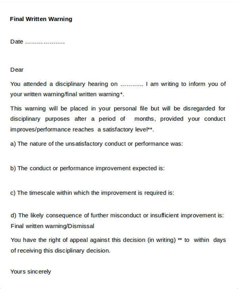 30 Warning Letter Templates Free Premium Templates Written Warning Template Attendance