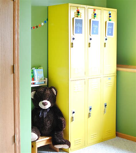 lockers for boys room 25 upcycled school furniture and card catalogs it s school time the cottage market