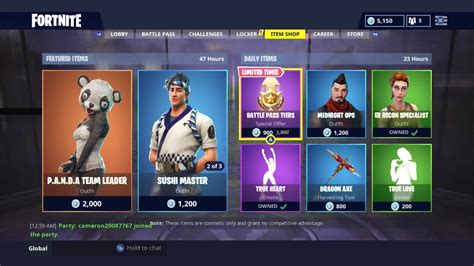 fortnite item shop today new skins daily item shop today new panda skin