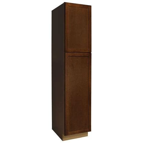 hton bay kitchen cabinets catalog 18x84x24 in pantry cabinet in cognac the home depot
