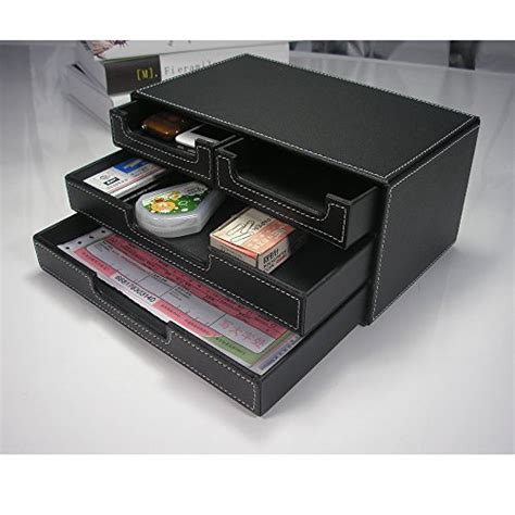 Small Desk Drawer Organizer Kingfom 4 Small Drawer Pu Leather Office Desk Organizer Multi Functional Stationery Box Black