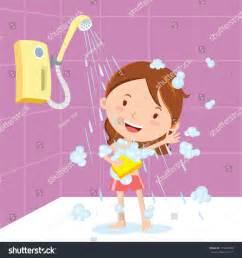Should I Have A Bath Or Shower girl shower vector illustration of a little girl showering or bathing