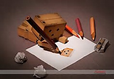Danbo with Paper Drawings