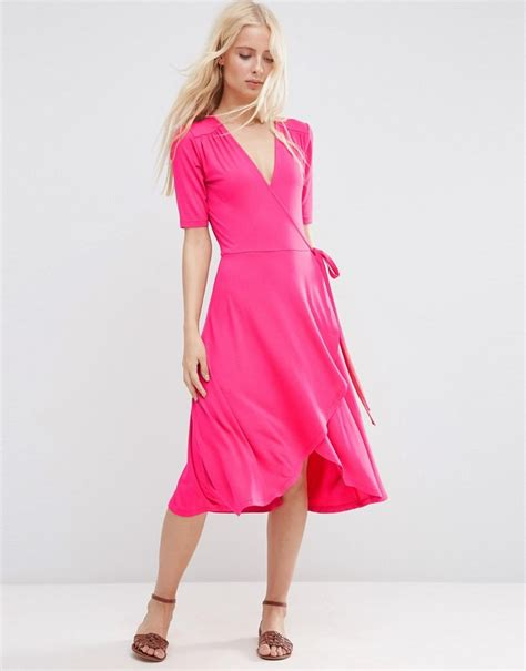 Midi Dress Ss 45531elsa Biru Fit L asos midi tea dress with wrap front shopstyle