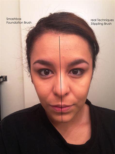 real techniques stippling brush vs smashbox foundation