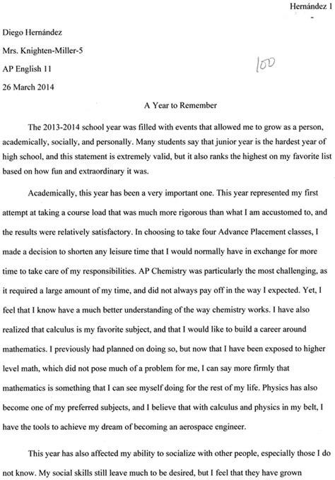 Resume Statement Examples by Junior Year Reflective Essay Diego Hernandez S Junior