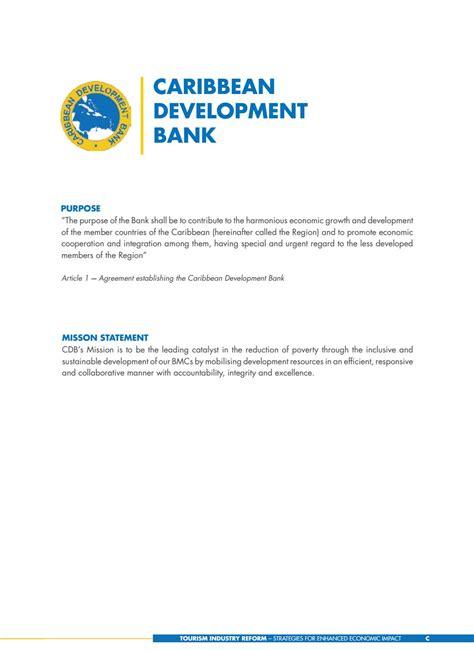 caribbean development bank tourism industry reform strategies for enhanced economic