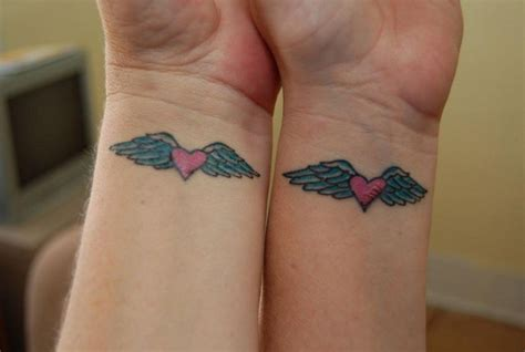 heart with wings tattoo best friend tattoos