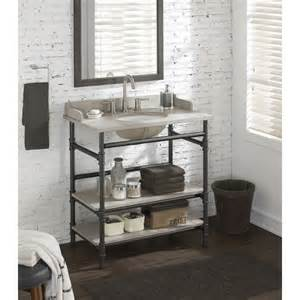36 inch Industrial Open Shelf Vanity with Backsplash