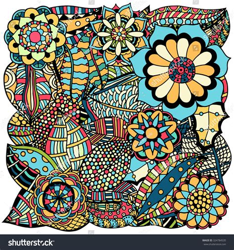 doodle designs to colour ethnic colored floral zentangle doodle background stock